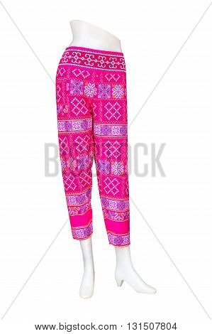 Pink pants isolated on a white background.