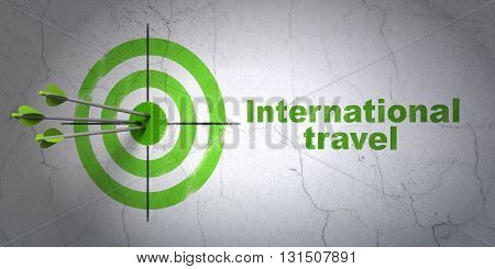 Success travel concept: arrows hitting the center of target, Green International Travel on wall background, 3D rendering
