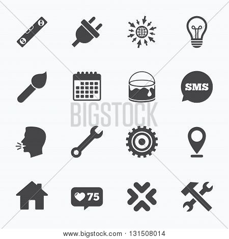 Calendar, go to web and like counter. Repair, construction icons. Hammer, wrench tool and cogwheel signs. Electric plug, lamp and house symbols. Sms speech bubble, talk symbols.