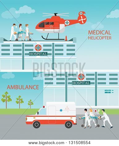 Info graphic of Medical emergency chopper helicopter and Ambulance with doctors and patient at the hospital building vector illustration.