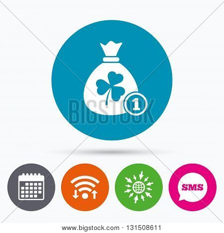 Wifi, Sms and calendar icons. Money bag with three leaves clover and coin sign icon. Saint Patrick trefoil shamrock symbol. Go to web globe.