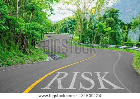 Risk written on S curve road in the green view.