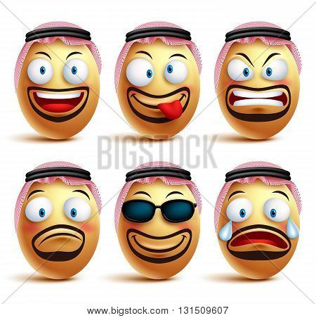 Saudi arab man egg faces set of vector wearing agal and ghutrah or head dress with facial expressions and emotions as an emoticons isolated in white background. Vector illustration
