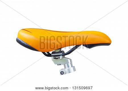 bike seat isolated on white Background. Orange bike seat.