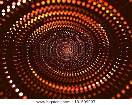 Abstract orange fractal blur - computer-generated image. Blurred background - bright spiral consisting of bubbles. Fractal artworks for posters, covers, web design