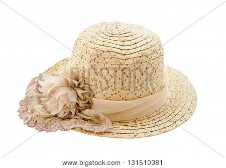Beautiful beach hat isolated on white background.