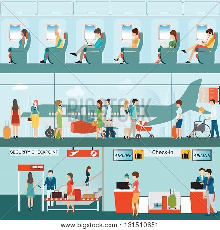 Set of Passenger airline at airport terminal with check in counter and security checkpoint Airline interior with plane seat on the flight business travel vector illustration.