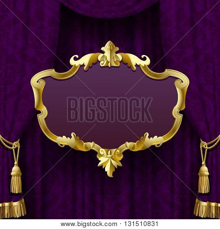 Dark violet curtain with suspended gold decorative baroque frame. Square presentation artistic poster and placard. Vector Illustration