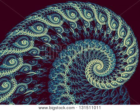 Abstract fractal spiral - computer-generated blue image. Fractal artwork - lace spiral closeup image. Color pattern for banners, posters, prints, web design