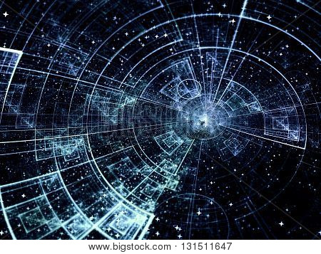 Abstract technology or scientific background - computer-generated blue image. Fractal background with tech style disk, stars and rays. For covers, banners, web-design.