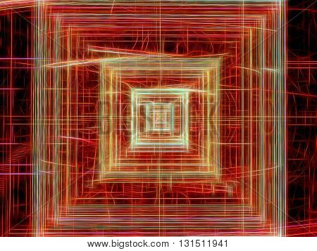 Abstract technology background -  computer-generated red image. Fractal pattern - chaos lines like square tunnel, well or chip. Digital art for covers, posters, web design.