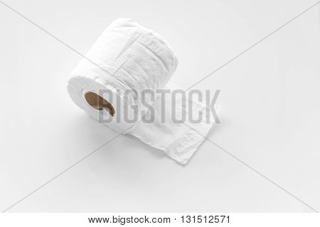 Tissue paper roll on white background. Toilet paper.