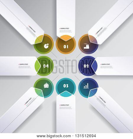 Colorful Minimal Paper Cut Infographics Design, Presentation Template - Rounded Arrows