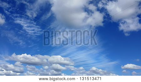 blue sky with lots of white clouds