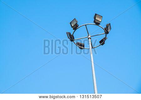 Big of light pole on blue background