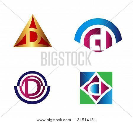 Set of alphabet symbols and elements of letter D, such d logo