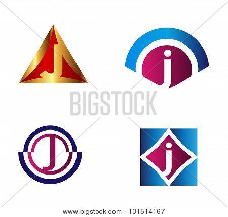 Set of alphabet symbols and elements of letter J, such j logo