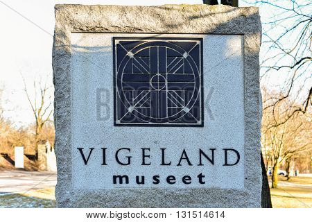 Oslo, Norway - February 27, 2016: Entrance to the Vigeland Museum in Oslo Norway.