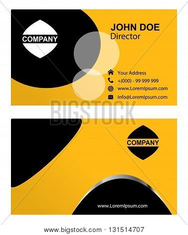 Business card vector. Business card black and yellow