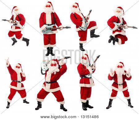 Colecta de Navidad de alta calidad de un Santa feliz aislado sobre fondo blanco.