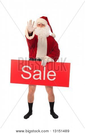 Christmas theme: happy Santa holding sale sign, isolated over white background.