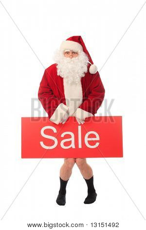 Thema Weihnachten: happy Santa Verkauf Schild, isolated over white Background.