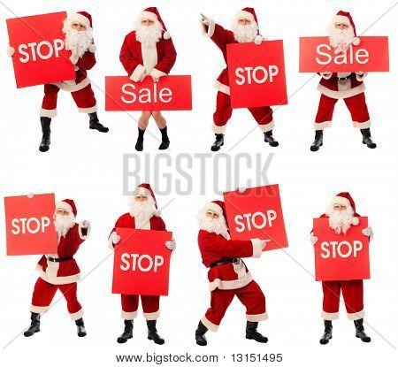 Coleção de Natal de alta qualidade de uma Santa feliz isolado sobre fundo branco.