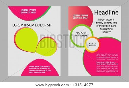 Flyer Design - Business. Vector pink  abstract background illustration