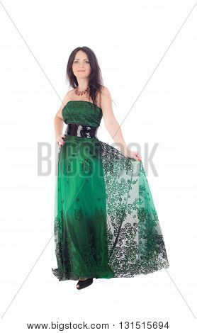 woman in a green dress on a white background