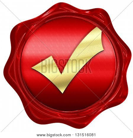 Approved tick with smooth lines, 3D rendering, a red wax seal