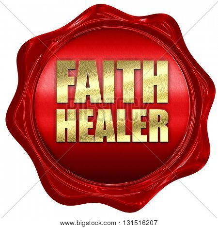 faith healer, 3D rendering, a red wax seal