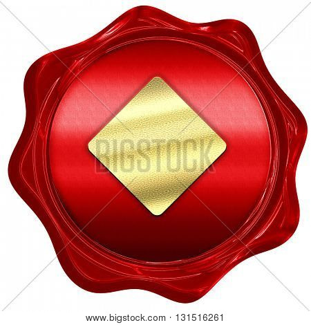 Diamond card background, 3D rendering, a red wax seal