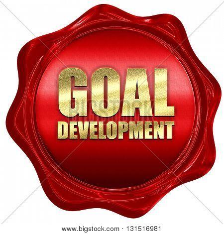 goal development, 3D rendering, a red wax seal