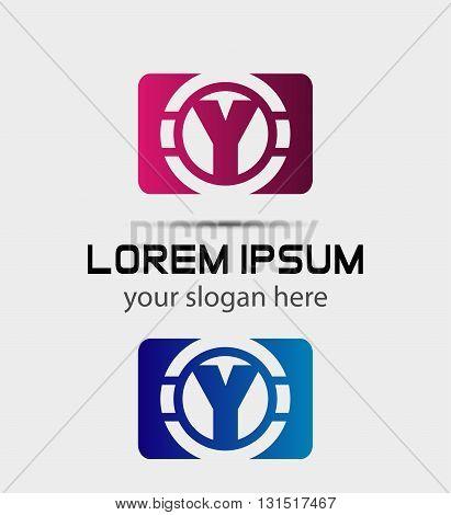 Alphabet icon - y. Vector design template elements