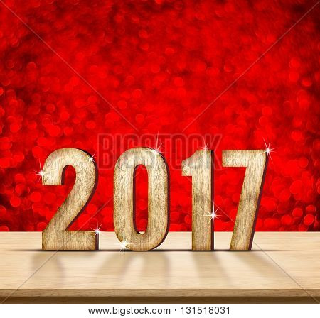 2017 Year Wood Texture On Plain Wood Table Top With Red Sparkling Bokeh Wall,holiday Concept,leave S