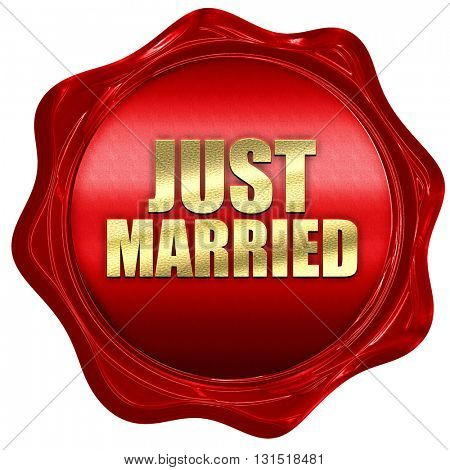 just married, 3D rendering, a red wax seal