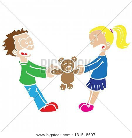 boy and girl fighting cartoon