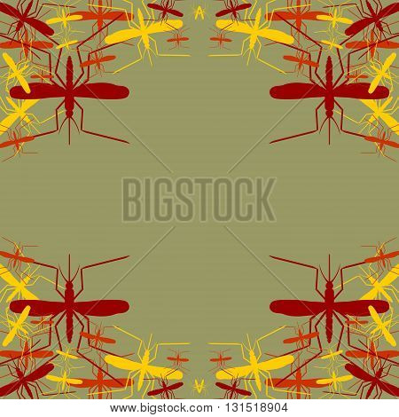 Brochure pattern. Vector abstract background. Mosquito silhouette icons. Insect transmitted diseases relative backdrop
