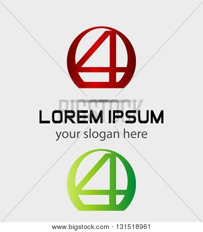 Abstract icons for number 4 logo. Vector design template elements