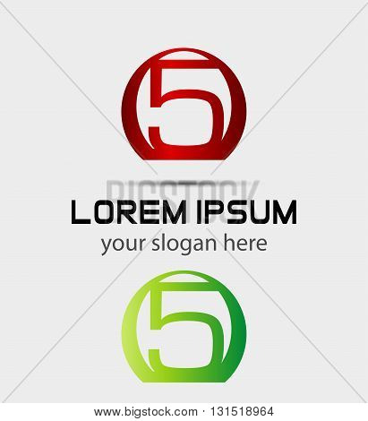 Abstract icons for number 5 logo. Vector design template elements