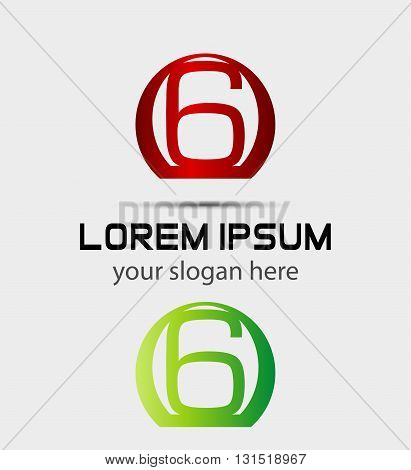 Number six 6 logo icon. logo icon design template elements