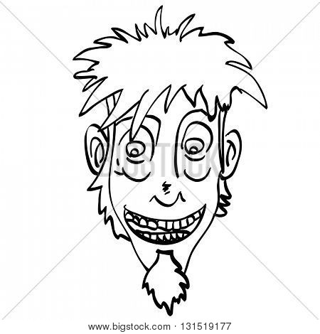 black and white crazy face cartoon