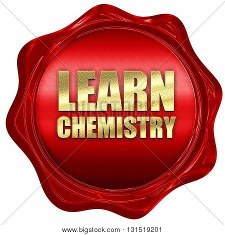 learn chemistry, 3D rendering, a red wax seal