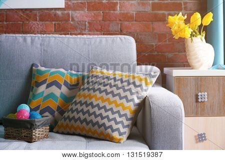 Design interior with sofa and nightstand