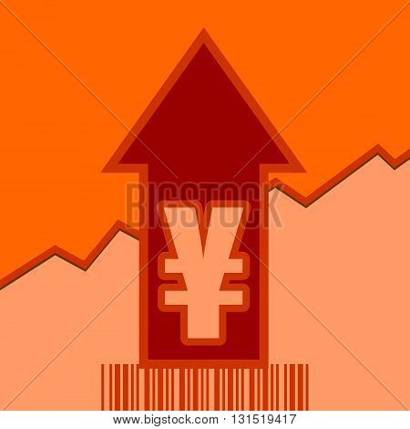 Yen sign and rise up arrow. Growth diagram and bar code. Relative for retail business. Vector illustration