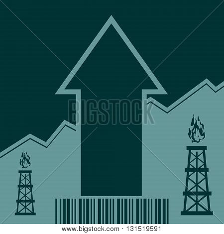 Gas rig icon and rise up arrow. Growth diagram and bar code. Vector illustration
