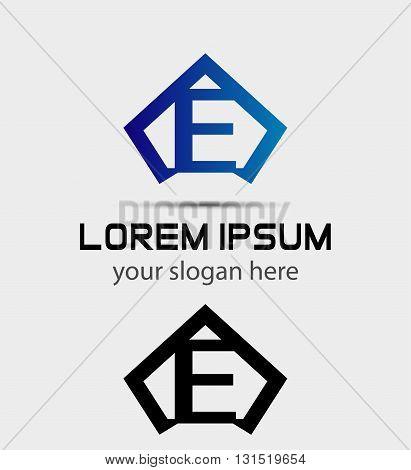 Letter E logo icon design template abstract