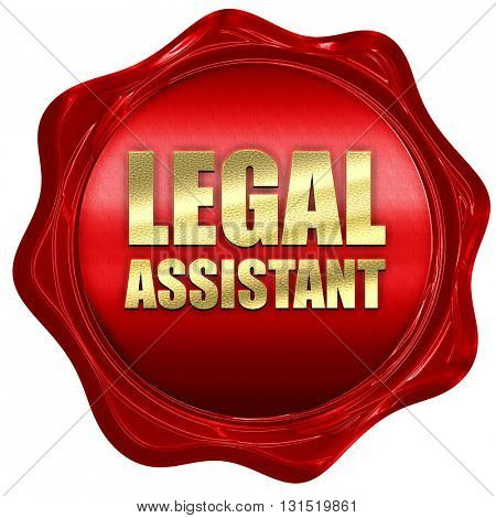 legal assistant, 3D rendering, a red wax seal