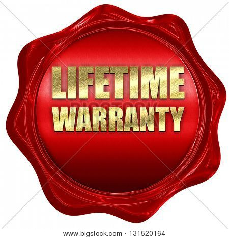 lifetime warranty, 3D rendering, a red wax seal