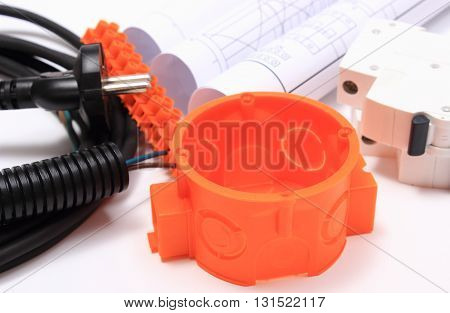 Components for use in electrical installations and rolls of electrical diagrams accessories for engineering work energy concept